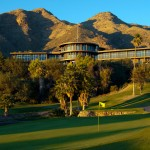 Skyline Country Club - The club house nested at the base of the mountains above the golf homes in Tucson Arizona